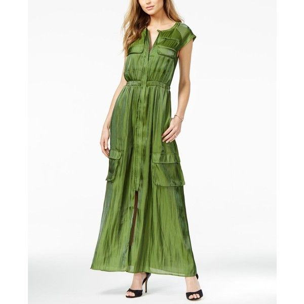 Guess Cargo Maxi Dress ($128) ❤ liked on Polyvore featuring dresses, garden green, holiday party dresses, white going out dresses, maxi dresses, night out dresses and white dress