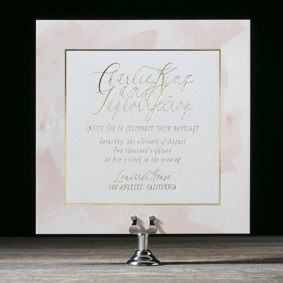 Brushtstroke | Watercolor wedding invitations with gold foil