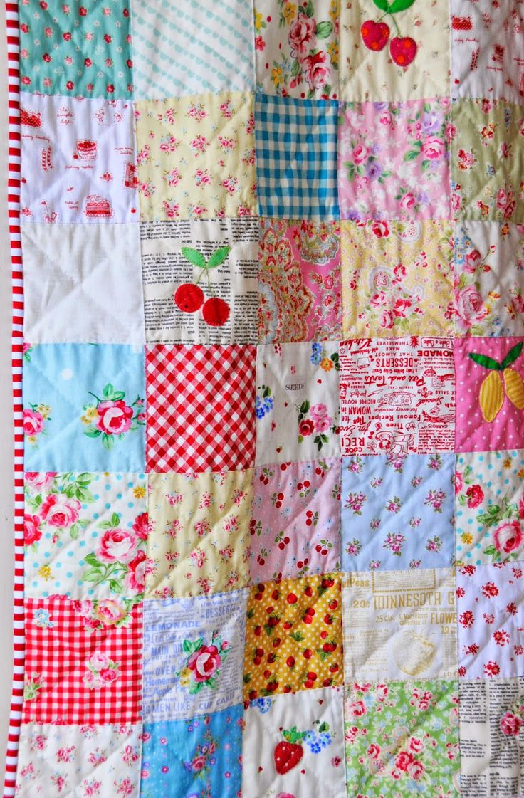 Helen Philipps: Scrappy Summer Quilt Finish. I like the addition of appliqué on the simple square pattern