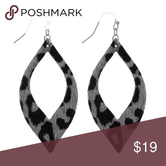 """Faux leather oval animal print earrings Faux leather earrings with a cutout oval shape and an animal print. Approximately 2.5"""" in length. Pink Peplum Boutique Jewelry Earrings"""