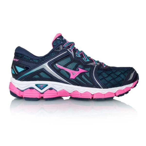 Mizuno Wave Sky Womens Running Shoes PeacoatPink Glo