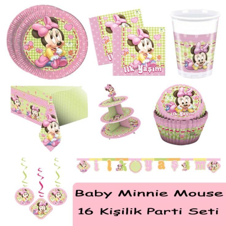 Baby Minnie Mouse Doğum Günü Seti (16 Kişilik)
