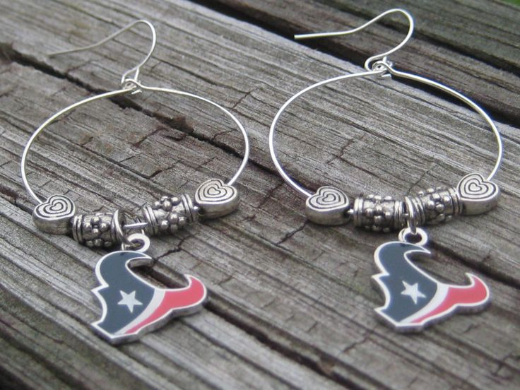 Houston Texans Earrings, Texans Jewelry, Houston Texans Jewelry, Texans, Houston Texans, JJ Watt Earrings, JJ Watt, Houston, Texans Bling by SpoiledRockN on Etsy
