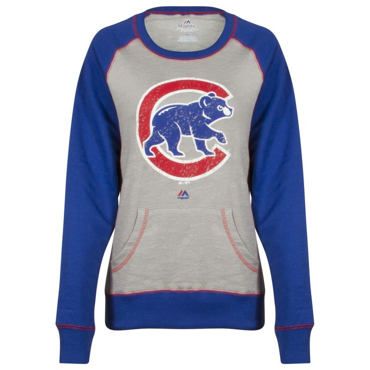 Chicago Cubs Women's Grey and Royal Distressed Crawl Bear Crew Neck Sweatshirt