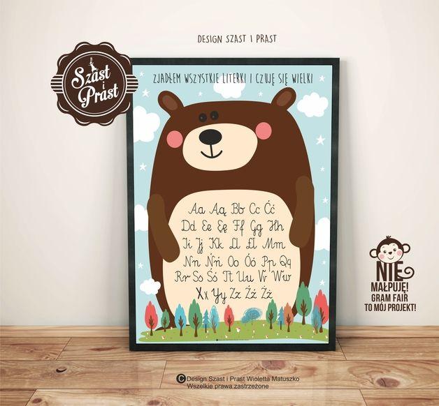 Plakat Miś alfabet DUŻY - Szast-i-Prast - Plakaty dla dzieci