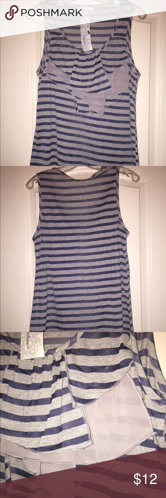 Mysteree Striped Tank Navy and grey striped tank with ruffles in the front. It's 80% polyester and 40% Viscose. The material is sheer. Mystree Tops Tank Tops