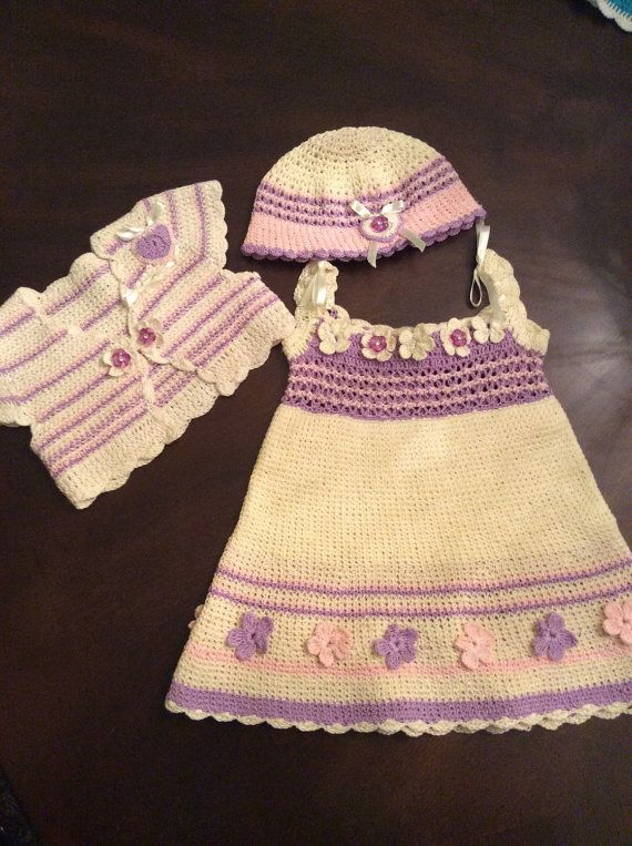Crochet cream with pink and purple spring dress with bolero and beanie