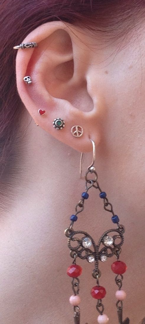 My multiple ear piercings.....auricle piercing and cuff.. #piercings #bodyart