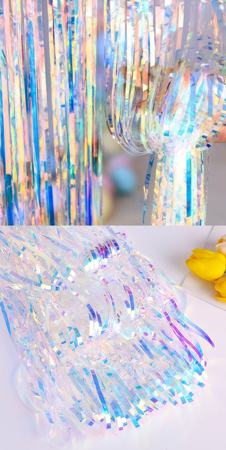 Iridescent Fringe Foil Curtain In 2020 Iridescent Party Birthday Halloween Party Hawaiian Party Decorations