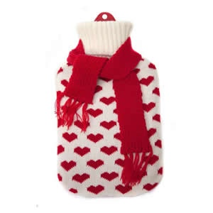 Hot Water Bottle with knitted Cover in assorted designs and colors for any British Winter to keep you snuggly and warm.