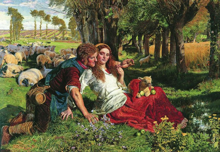"""William Holman Hunt's the Hireling Shepherd. """"Lark Rise to Candleford"""" makes me think of this painting."""