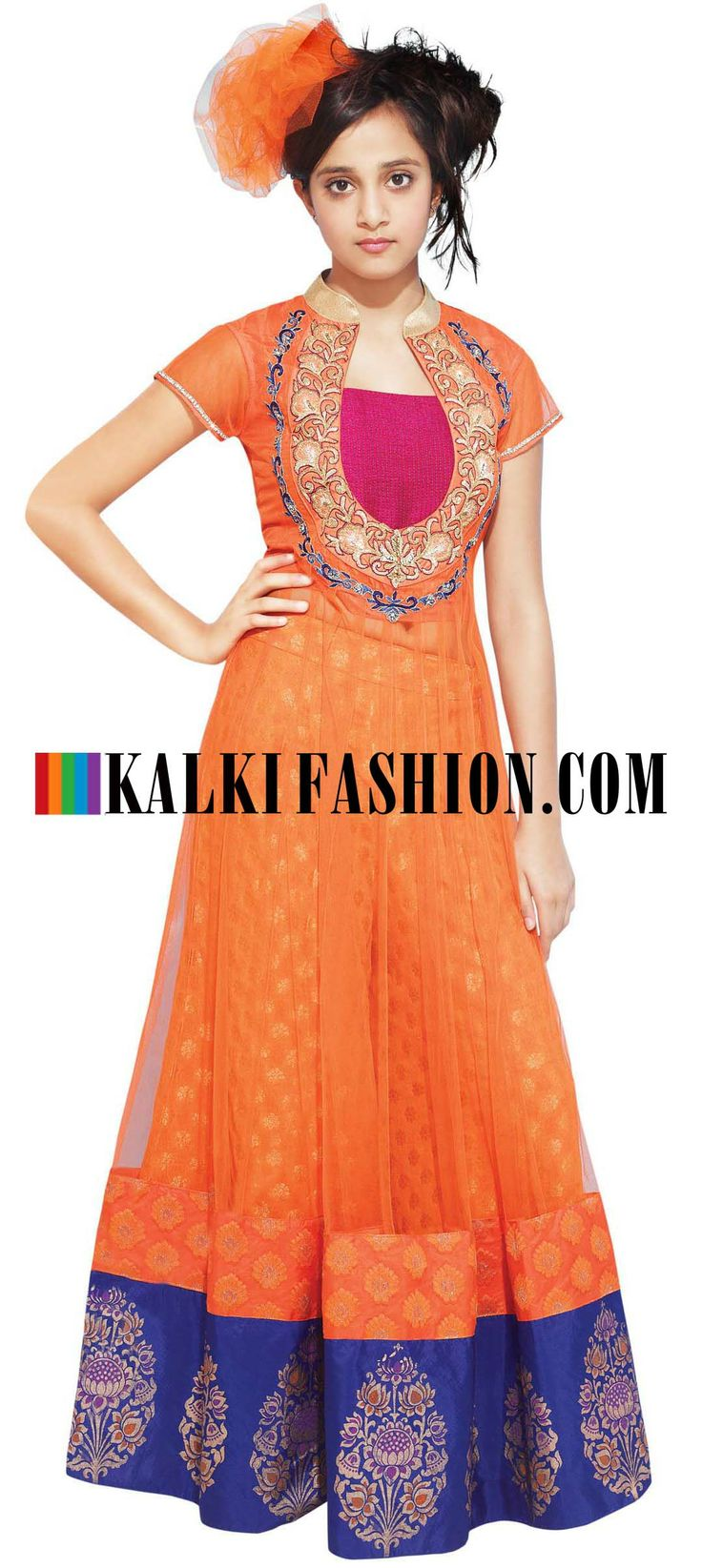 Buy Online from the link below. We ship worldwide (Free Shipping over US$100)   http://www.kalkifashion.com/orange-anarkali-lehenga-embellished-in-gotta-patti-and-resham-emboridery.html
