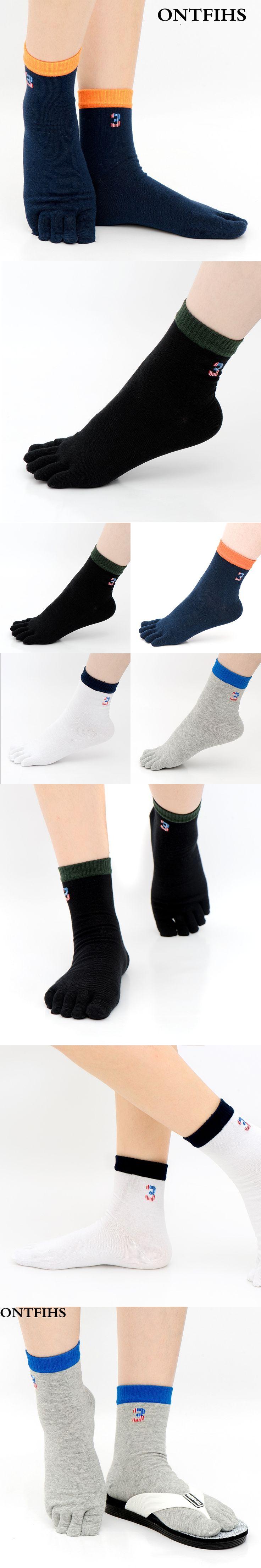 ONTFIHS Fashion Business Men Toe Socks Crew  Combed Cotton Socks for Male  Five Finger Dress Socks Casual