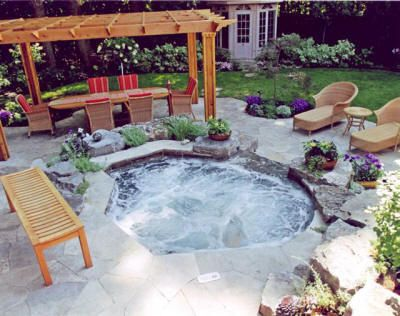 @dalanihomeuk  Outdoor Hot Tub Spa - Very natural looking but luxurious hot tub. Lust-have for those days where a summer breeze pays a visit.