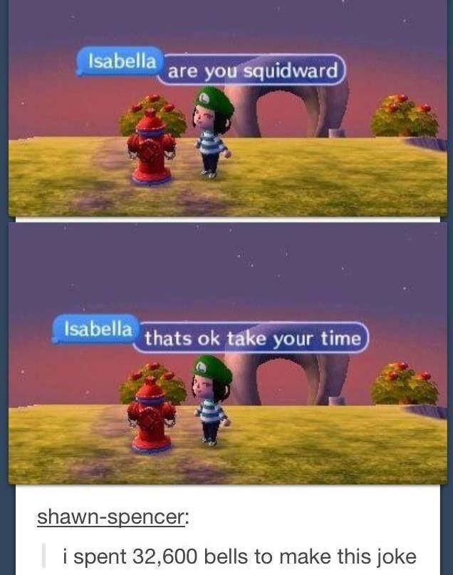 Spongebob and Animal Crossing xD