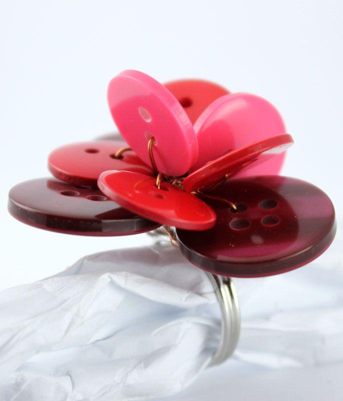 Poppy ring - cherry berry