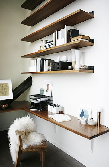 Home Tour: Moody and Warm in a Small Seattle Space// high shelves, small office