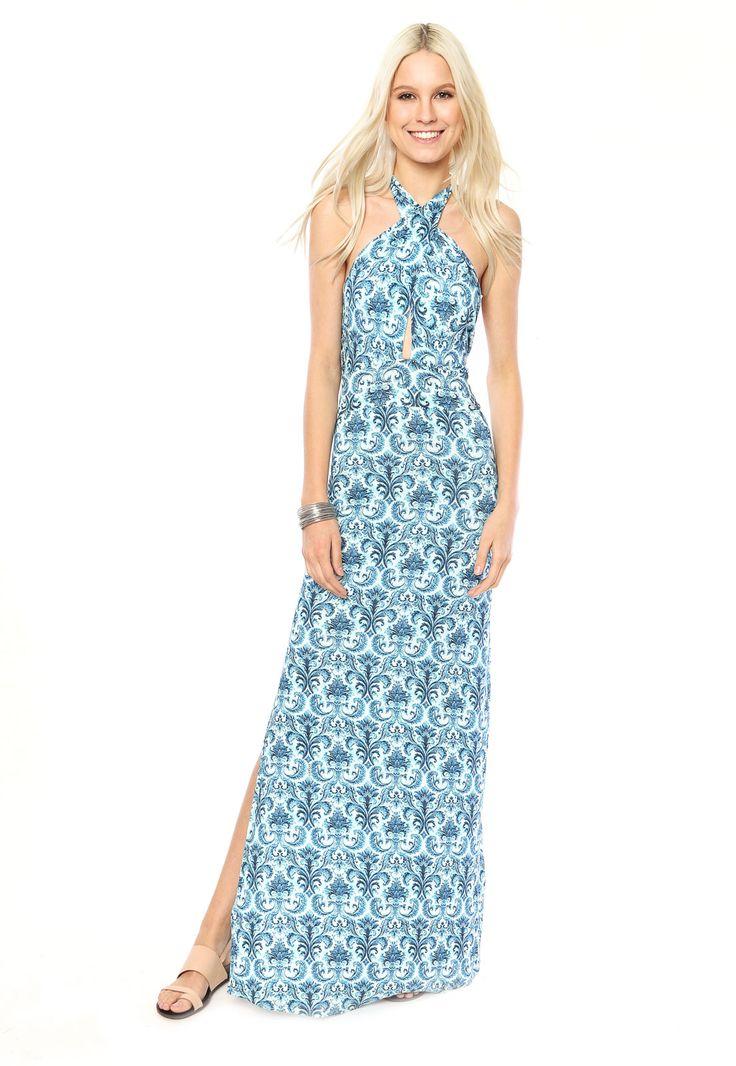 Vestido Colcci Longo Arabescos Azul - Marca Colcci:
