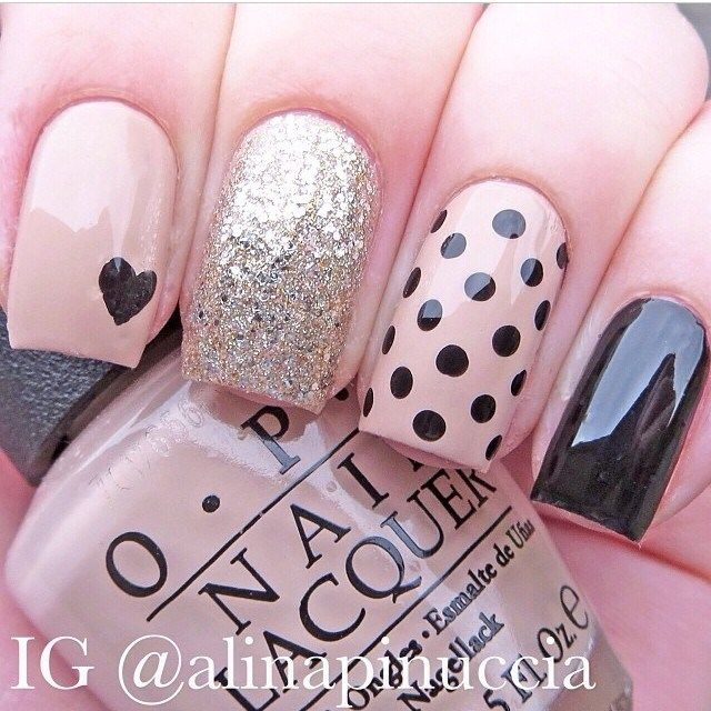 Opi rose and black dots and sparkle mani