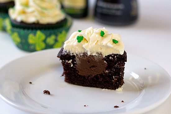 Irish Car Bomb cupcakes...Guiness chocolate cupcakes, with an Irish Whiskey-chocolate ganache filling and a Bailey's Irish Cream - buttercream frosting.