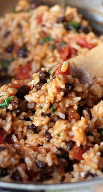 Mexican Tomato Rice and Beans- added onion and cheddar cheese and ...