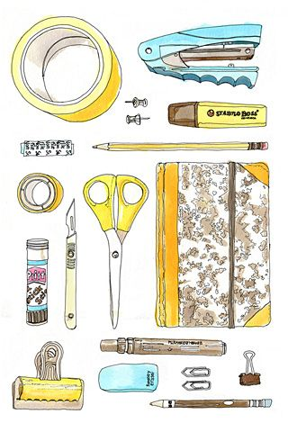 school supplies- who doesn't love getting new supplies at the start of the new year? #ilustration #ilustracion