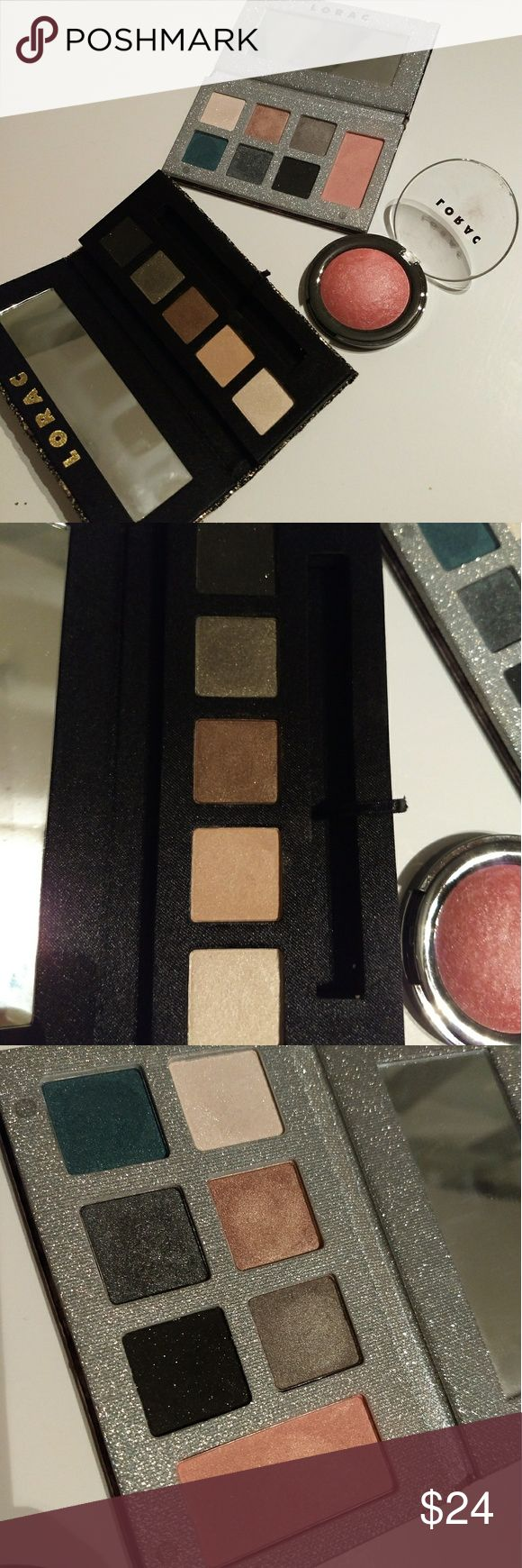 Lorac eyeshadow palette and blush bundle This is a bundle including 1 Lorac 5 color eyeshadow palette, 1 Lorac 6 color eyeshadow and blush palette, and 1 full-size Lorac Baked Matte Satin Blush in Exposed. All swatched once. If you wish to purchase one of these items separately let me know in the comments. Lorac Makeup Eyeshadow