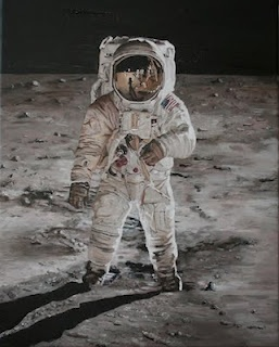 Painting of Buzz Aldrin on the moon, 1969