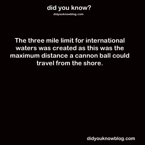 The three mile limit for international waters was created as this was the maximum distance a cannon ball could travel from the shore.
