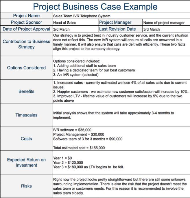 Project Business Case Example Gestion De Proyectos Planeacion