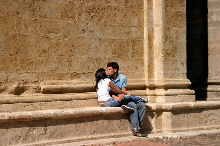 Romantic teenagers outside San Biagio Church, Montepulciano, Tuscany, Italy www.italyunfettered.com