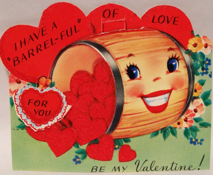 J1023 50s Have a BARREL Full of Love! Vtg Unused Anthropomorphic Valentine Card
