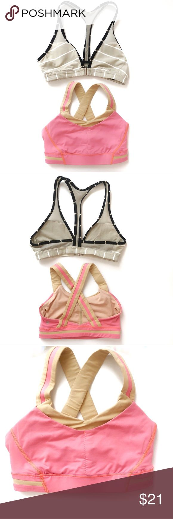 BOGO🌟Bundle of TWO Lululemon Sports Bras! Buy one get one free! Bundle of two sports bras by Lululemon. One pink & beige crossed back, one black & ecru striped racerback. In great used condition! Only flaw is on the pink bra - a little blemish on one seam (see photo). Both size Small. Purchased brand new from Lululemon and only worn a handful of times. Offers welcome! 🎀🌟🎀 Tags: Athleta Nike Teeki Adidas Reebok Prana Running Gym Athletica Lemons Secret Free People lululemon athletica…