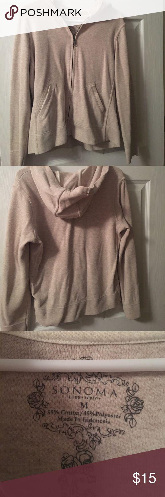 Sonoma cream/beige zip up hoodie Sonoma cream/beige zip up hoodie, with sleeves, cotton and polyester, size M Sonoma Tops Sweatshirts & Hoodies