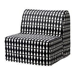 IKEA LYCKSELE LÖVÅS chair-bed Cover made of durable cotton with a geometric pattern.