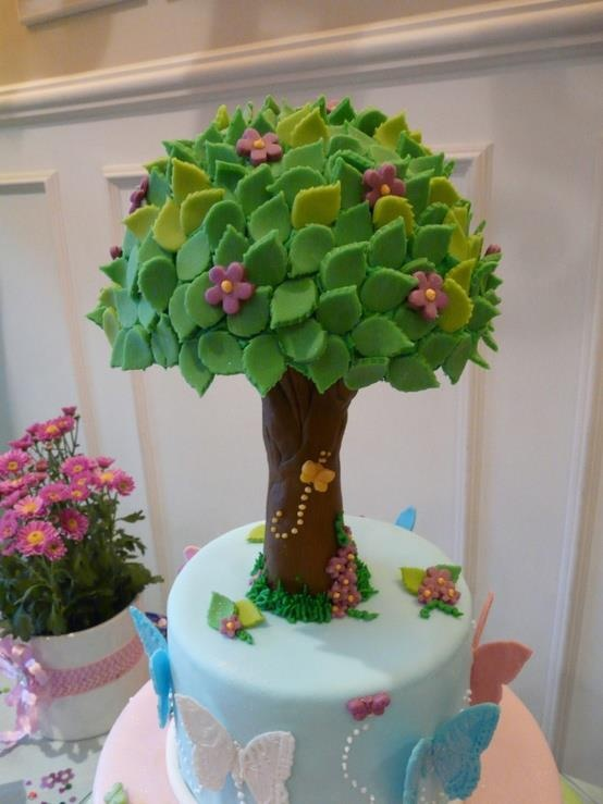 Tree and Butterflies Cake