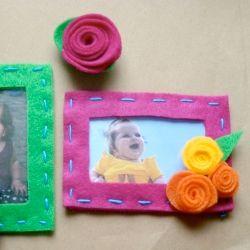 Make fridge or locker magnets out of felt pictures frames or felt roses.