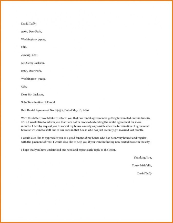 Sample Of Agreement Letter Between Landlord And Tenant