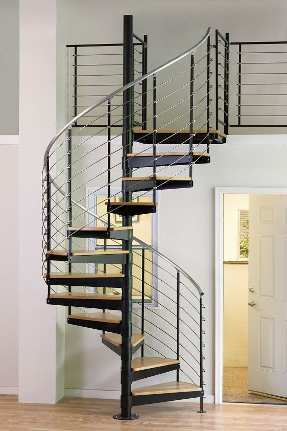 "5'0"" Diameter Multi-line Stainless Steel Kit with Oak Treads and Aluminum Handrail / spiral staircase"
