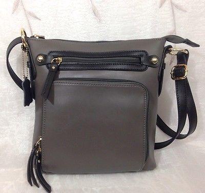 Italian Leather Cross  Body Bag  Grey With Black Trim Black Label  By KGB