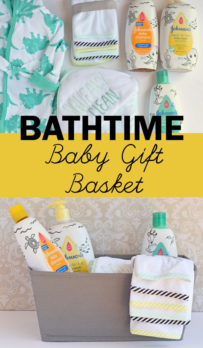 Bath Time Baby Gift Basket idea for a baby shower and new baby gift. #GiftingForBaby AD