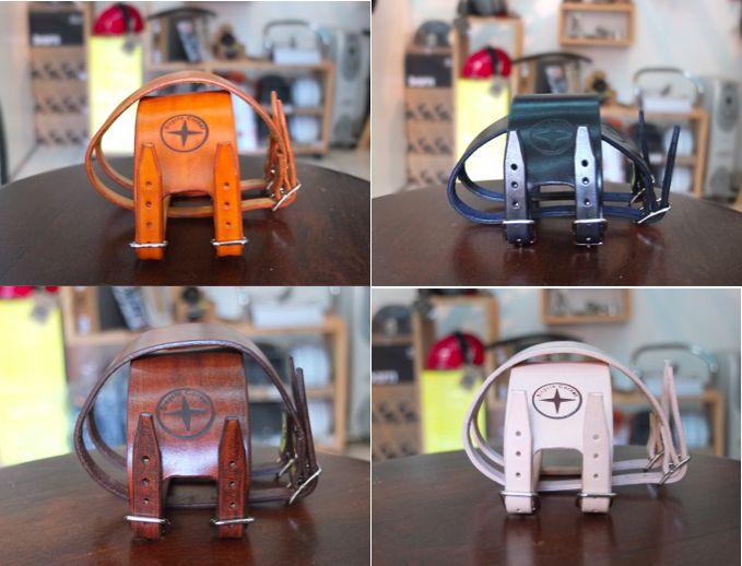 Straps Cuir Bicycle Corner couleurs fauve, noir, marron et naturel #straps #strap #sangles #leather straps #sangles cuir #foot straps #bicycle corner