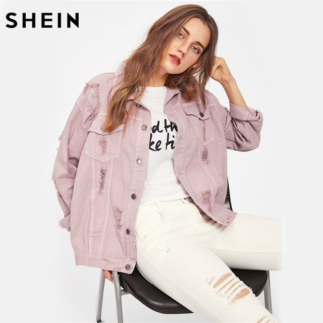 Lucky Deal $28.97, Buy SHEIN Rips Detail Boyfriend Denim Jacket Autumn Womens Jackets and Coats Pink Lapel Single Breasted Casual Fall Jacket