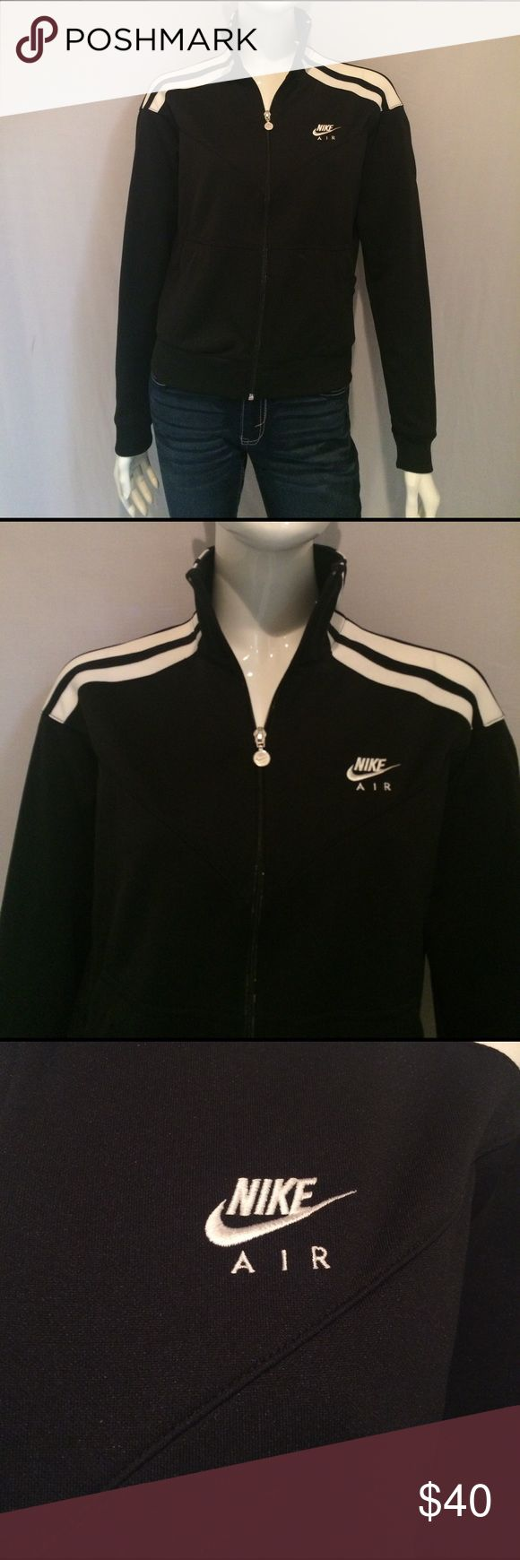 """Nike Women's Running Jacket Nike Women's Running Jacket. Two Pockets. Zippered front pockets for secure storage.  Size: Medium ( 6-10). 87% Polyester, 13% Cotton. Measurements: Armpit to Armpit 19.5"""", Sleeve 23"""", Length from Neckline 21"""". Nike Jackets & Coats"""