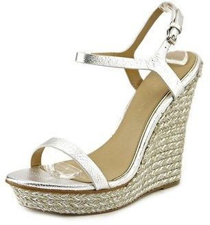 Badgley Mischka Glenna Women Open Toe Synthetic Silver Wedge Sandal.