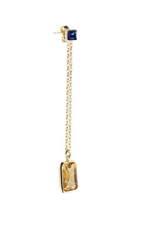 Sapphire & Citrine Earring