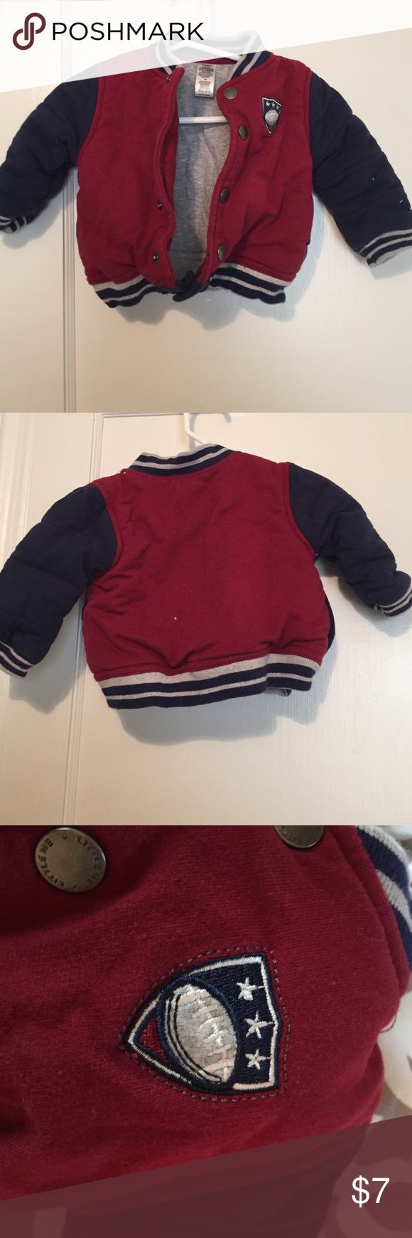 NWOT Baby boys fall football jacket This is a NWOT adorable baby boys fall football jacket. It has snap closures and a sweatshirt like lining. Perfect for those little football fans on a chilly day. This was given to my baby as a gift and I washed it and now he is too big for it. Size 12 months. Comes from a smoke free home. Jackets & Coats