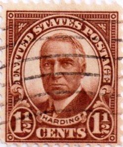 Us Postage 1 1 2 Cent Harding Issued 1922 Scott 553