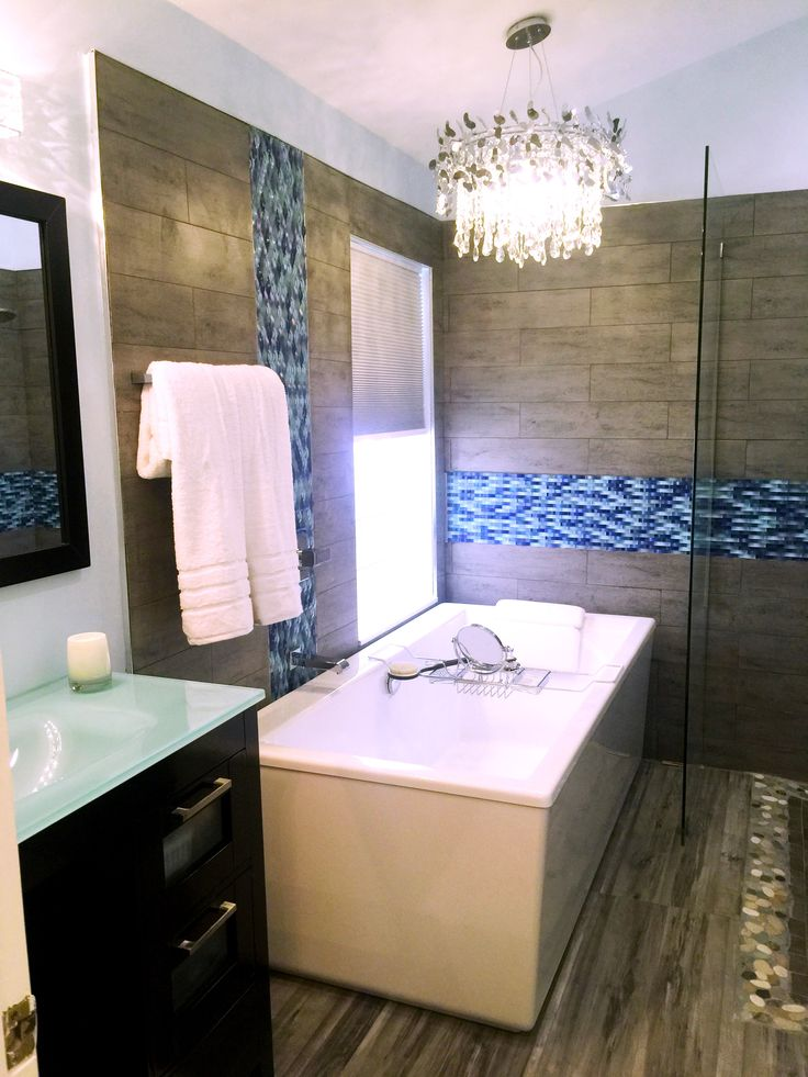 bathroom remodel love the blue ripple stream mosaic glass tile designed by kkross designs