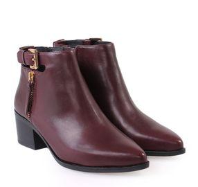 GEOX Women's Bordeaux Leather Ankle Boots. Γυναικεία μπορντώ δερμάτινα μποτάκια αστραγάλου.